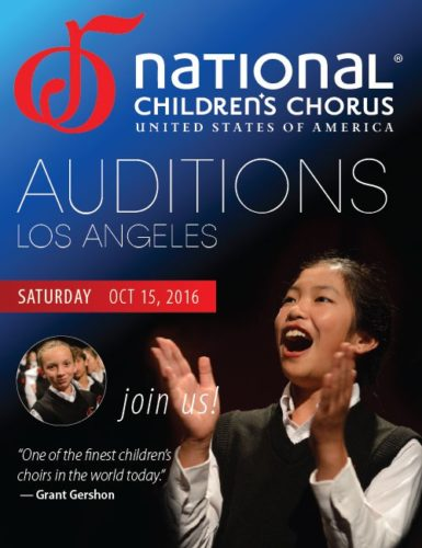 Auditions: The National Children's Chorus @ UCLA School of Music | Los Angeles | California | United States